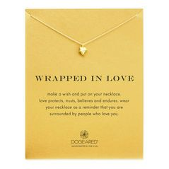 wrapped in love heart necklace, gold dipped