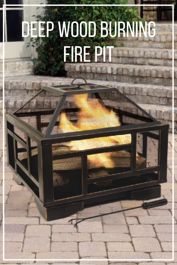 Upgrade Your Outdoor Space With This Fire Pit The Fire Bowl Has A Large Wood Capacity For Bonfires A Mesh Spark Guard Li Wood Burning Fire Pit Fire Pit Wood