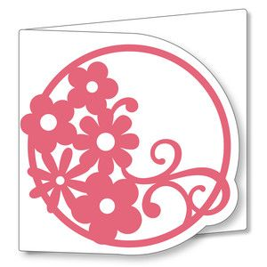 Silhouette Design Store - View Design #145022: circle card - flourish flowers