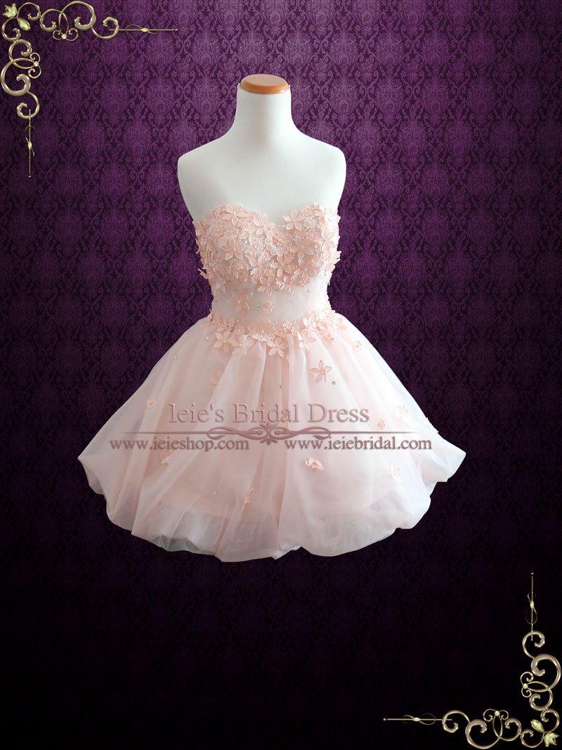 Pink cocktail dress for wedding  Blush Pink Cherry Blossom Short Cocktail Formal Dress  Alia  Prom