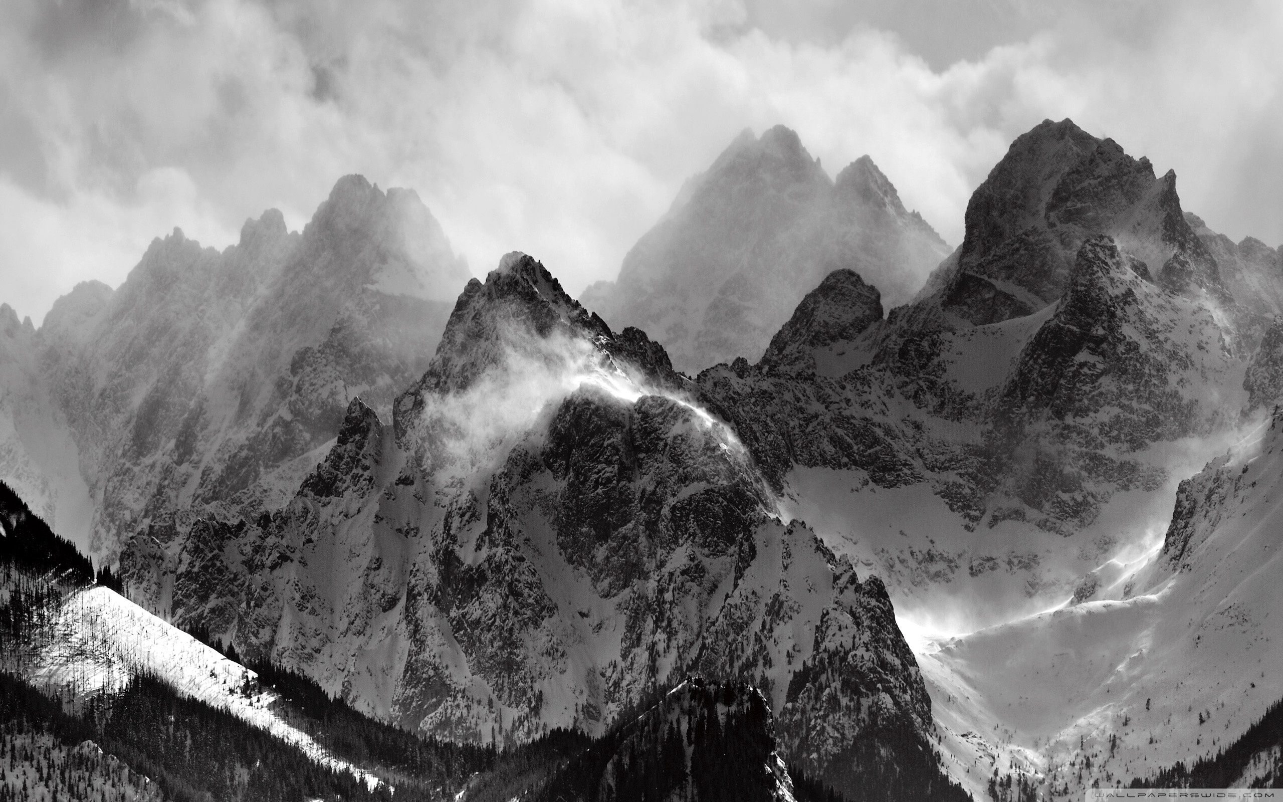 Misty Mountains Hd Desktop Wallpaper Widescreen High Mountain Wallpaper Black And White Wallpaper Nature Wallpaper