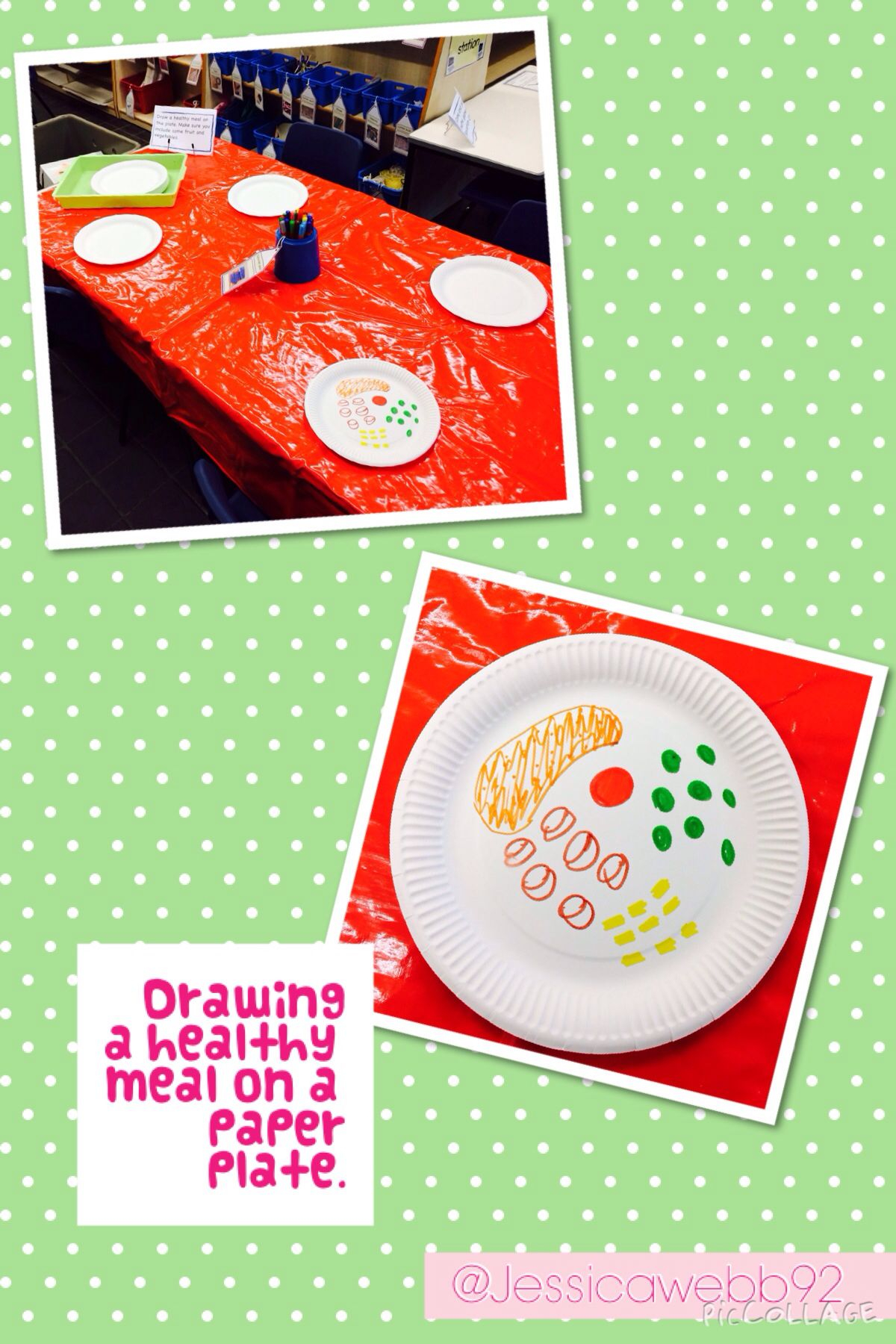 Draw a healthy meal onto a paper plate. Healthy food art