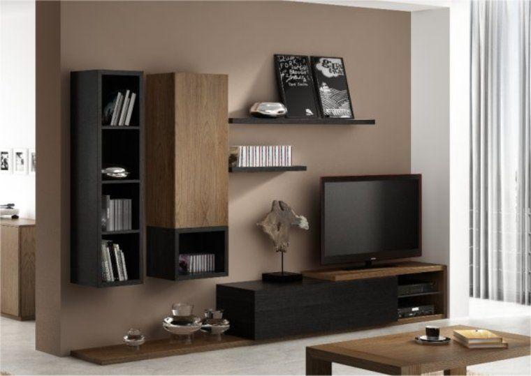 ensemble meuble tv mural notte | couleur salon | pinterest | tvs ... - Meuble Tv Bibliotheque Design