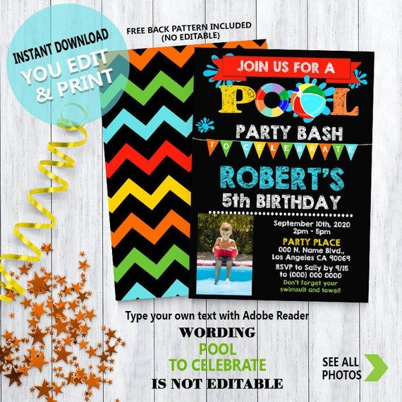 Pool birthday bash invitation summer pool party chalkboard primary colors Instant Download You ADD Photo, EDIT Text and PRINT invite 6042 #summerpoolparties