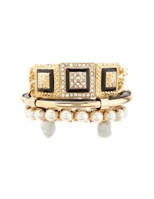 pearl & rhinestone bracelet set