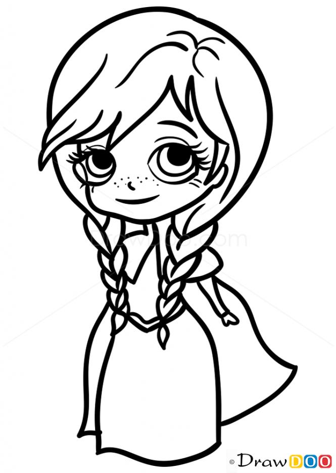 How To Draw Anna Chibi Disney Princess Coloring Pages Princess Coloring Pages Cute Coloring Pages