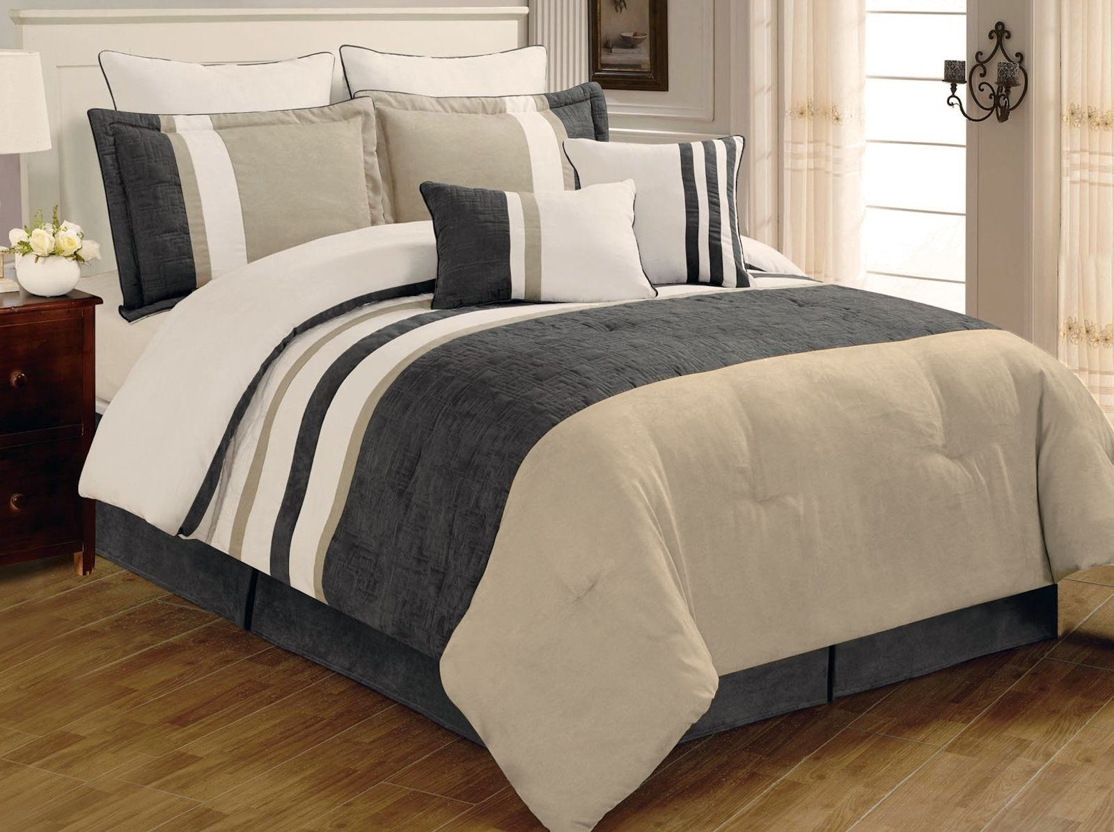 Legacy Decor 8 Pc Grey Beige And White Striped Micro Suede Comforter Set Queen Size Want To Know More Comforter Bedding Sets Bed Comforters Comforter Sets