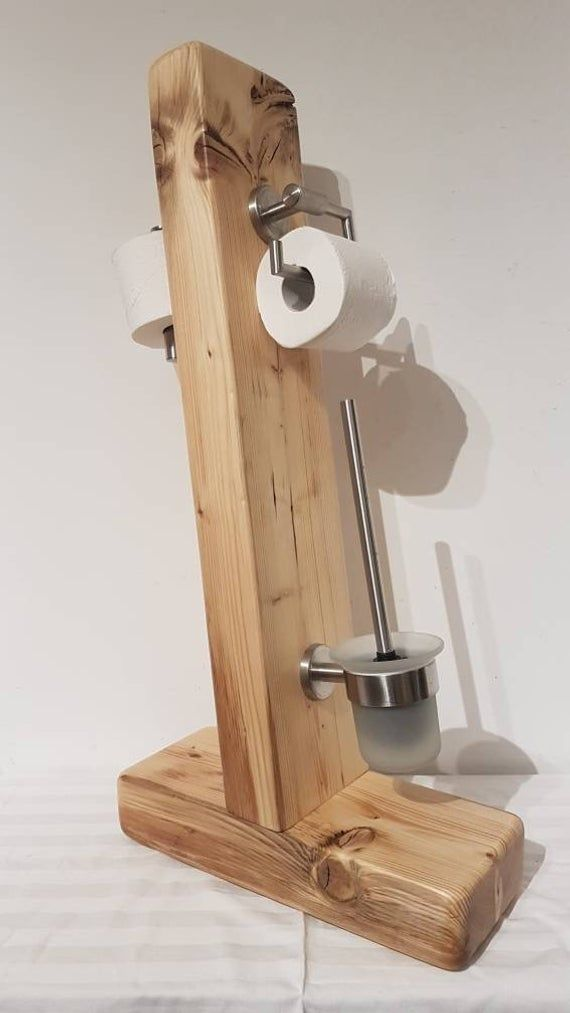 Rustic Toilet Stand Wood Handmade Unique Toilet Paper - Wc Bürste Just