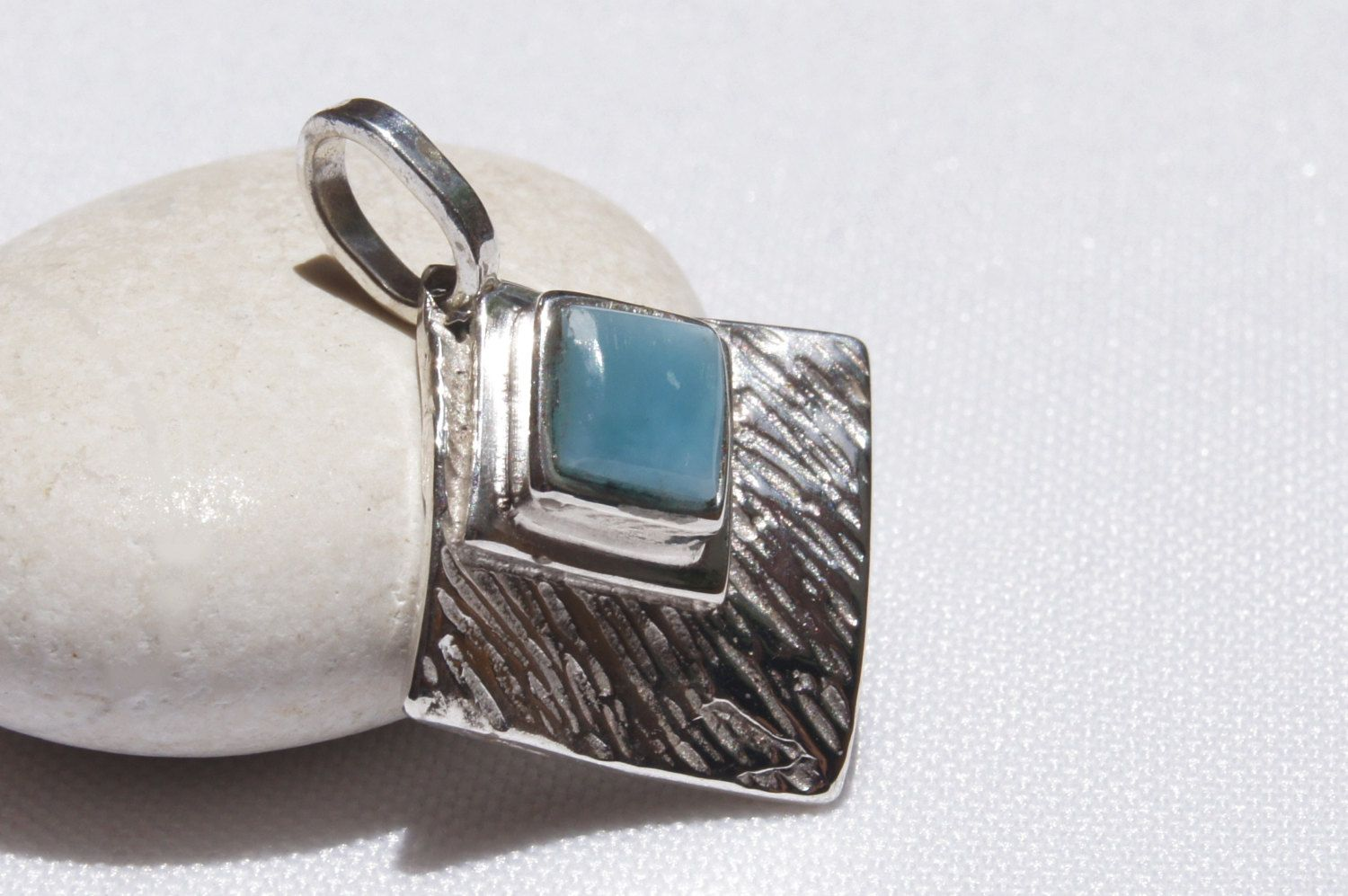 Original And Genuine Dominican Handcrafted AA Marbled Square Shape Larimar Stone .925 Larimar Pendant Sterling Silver Pendant Jewelry