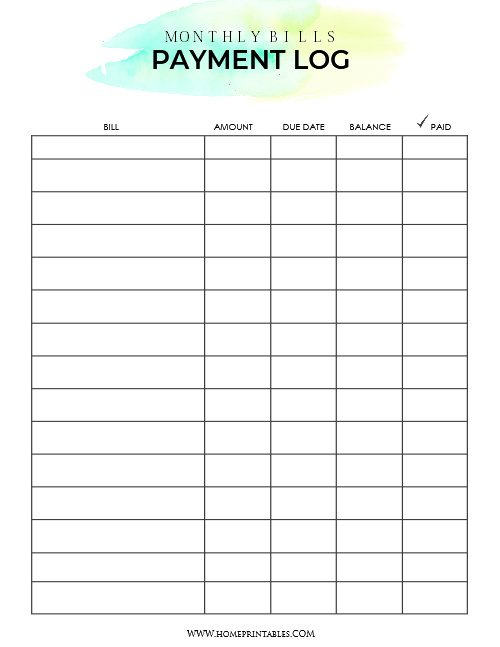 picture regarding Free Printable Monthly Bill Payment Log identified as Down load Your No cost Invoice Fee Organizer paper Invoice