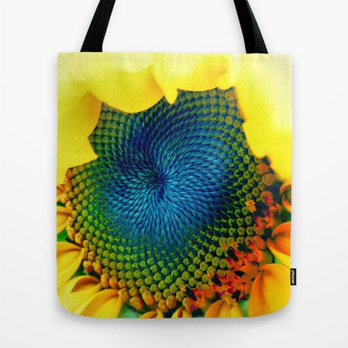 Sunflower Tote Bag 13x13 16x16 18x18 Yellow Tote Flower by MGMart
