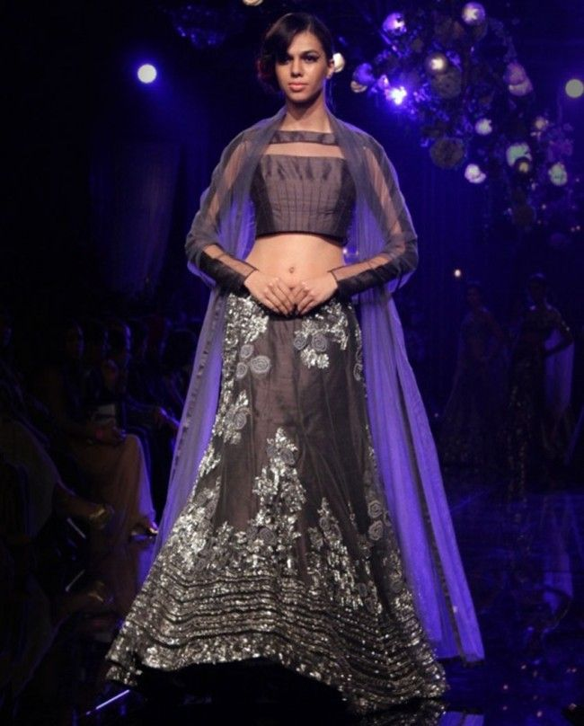 Charcoal Gray Lengha Set with Sequined Flowers - The Gloss ...