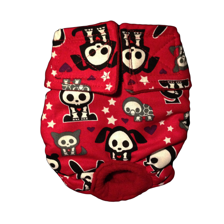 Designer doggie diaper skelanimals on red washable cover