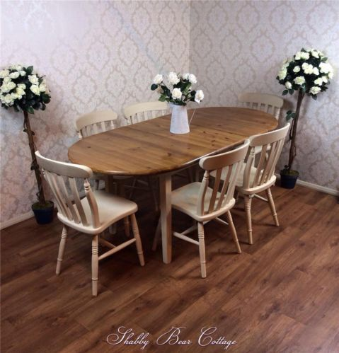 Huge Rustic Solid Pine Farmhouse Dining Table 6 Chairs Country
