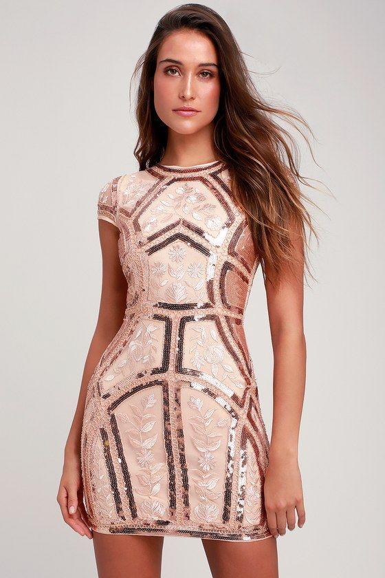 28e7bcb707 Opulence is Bliss Rose Gold Sequin Dress | Holiday & Winter Fashion | Rose  gold sequin dress, Gold sequin dress, Gold dress