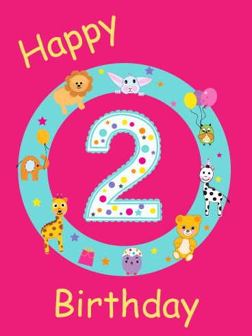 Fun Animals Happy 2nd Birthday Card Birthday Greeting Cards By Davia Happy 2nd Birthday Happy Birthday Wishes Cards Happy Birthday Ecard