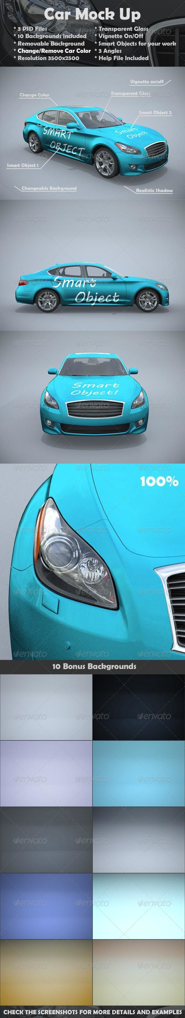 Car Mockups for 7 Envato mockups psd template