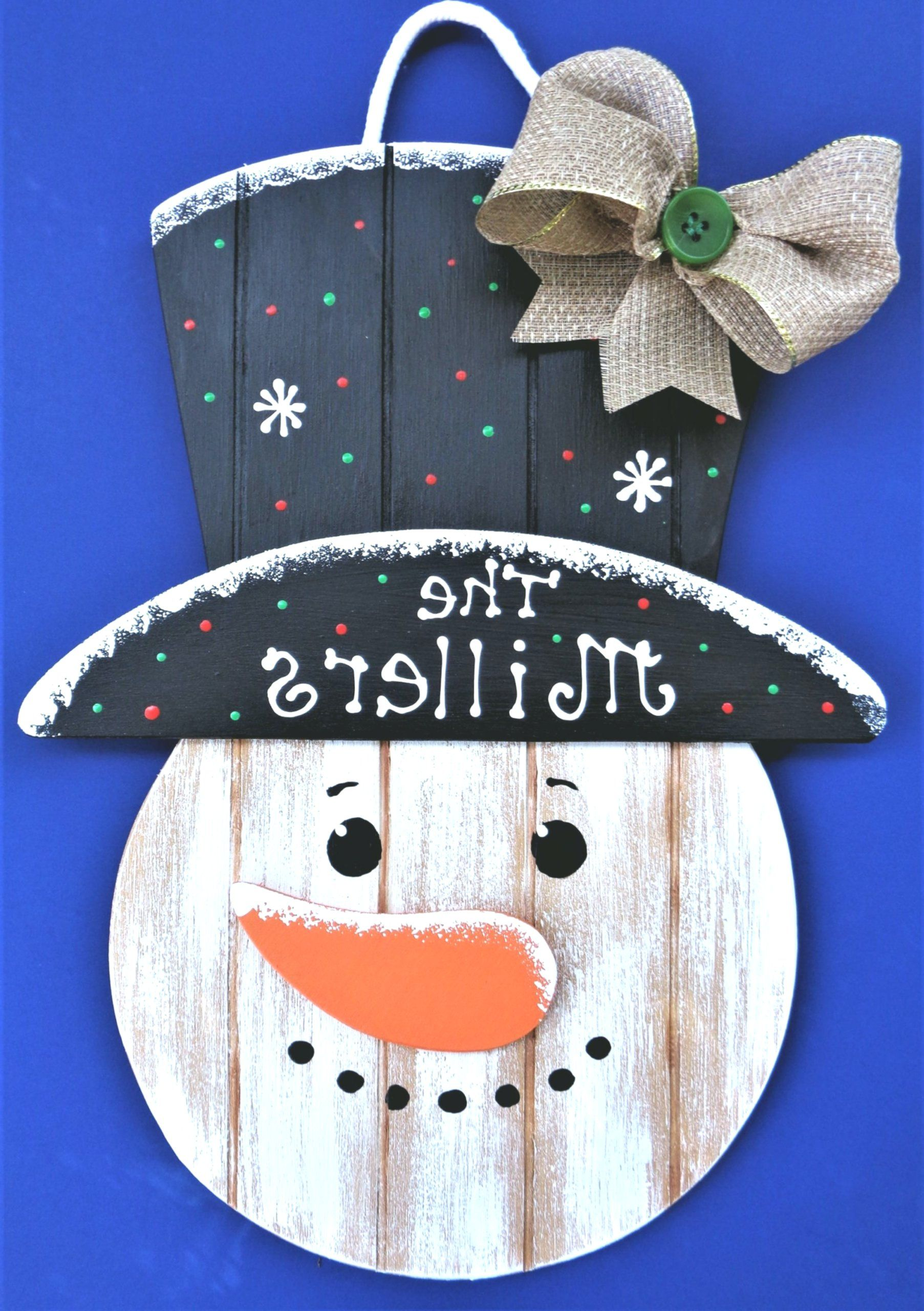 Personalized name SNOWMAN SIGN Grooved wood hanging …