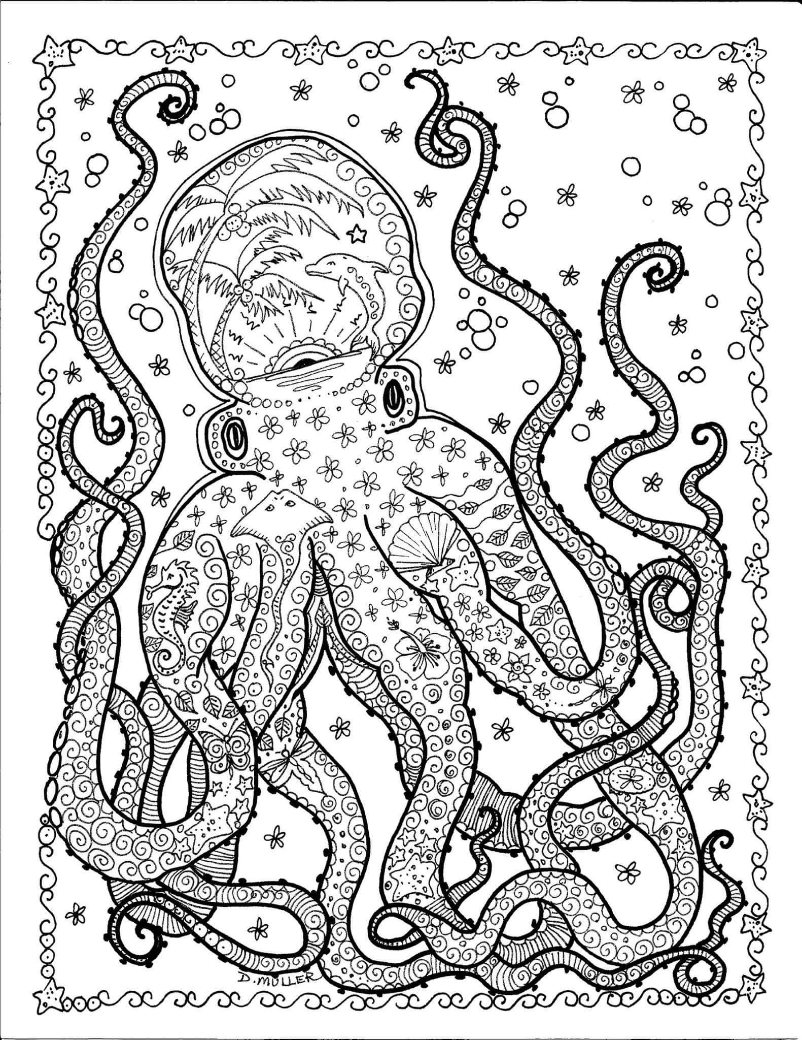 Octopus I Chubbymermaid Art By Deborah Muller Detailed Coloring Pages Ocean Coloring Pages Abstract Coloring Pages