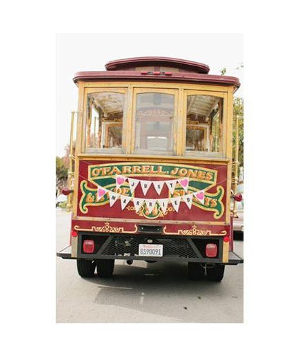 Just Married Sign On The Back Of A Trolley Car Wedding Transportation