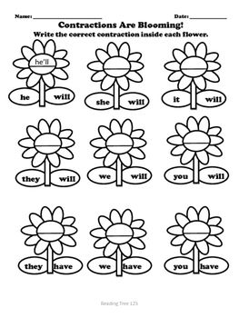 Contractions Are Blooming a fun worksheet for students to