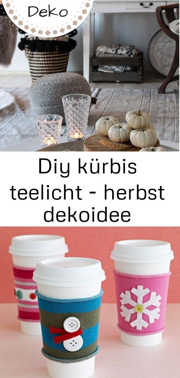 Diy kürbis teelicht - herbst dekoidee #herbstlichetischdeko