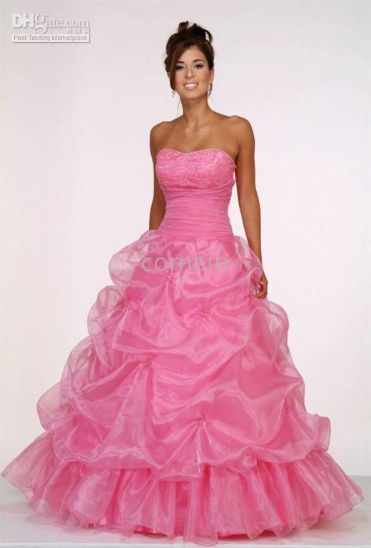 Black and hot pink wedding dresses - pretty A-line strapless ...