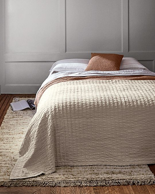 Marvelous Rippled Like The Surface Of A Mountain Stream, This Intricate Organic  Cotton Coverlet Is Woven With Jacquard Stripes And Then Washed To Create  Its ...