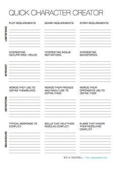 Character Creation Writing Worksheet Wednesday Writing Worksheets Book Writing Tips Writing Tips Creating a character worksheet