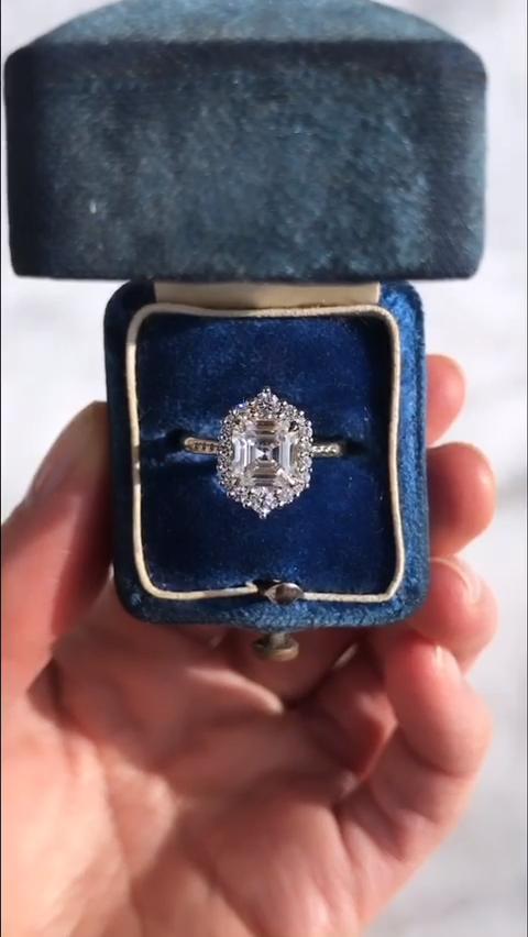 Photo of Rosalind Asscher Cut Halo Ring