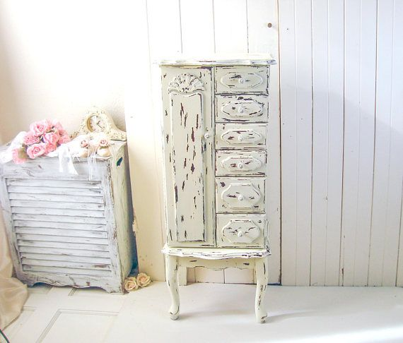 Large Jewelry Armoire Rustic Cream Jewelry Cabinet Vintage Rustic