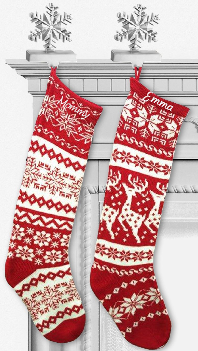 Knit Christmas Stockings - Red White | Vánoce | Pinterest | Knitted ...