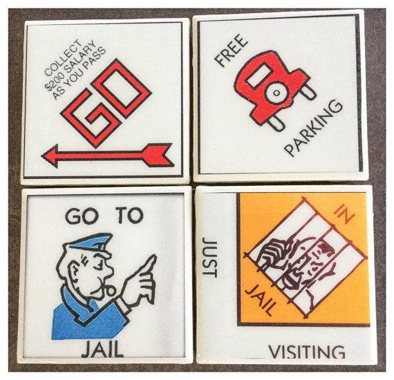 X Monopoly Four Corners Ceramic Coaster Set Set Of - Four corners drinking game