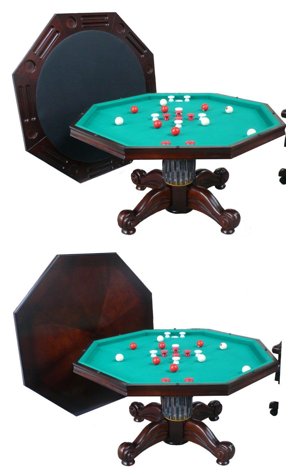 Tables 21213: 54 Octagon 3 In 1 Game Table ~ Bumper Pool, Poker And