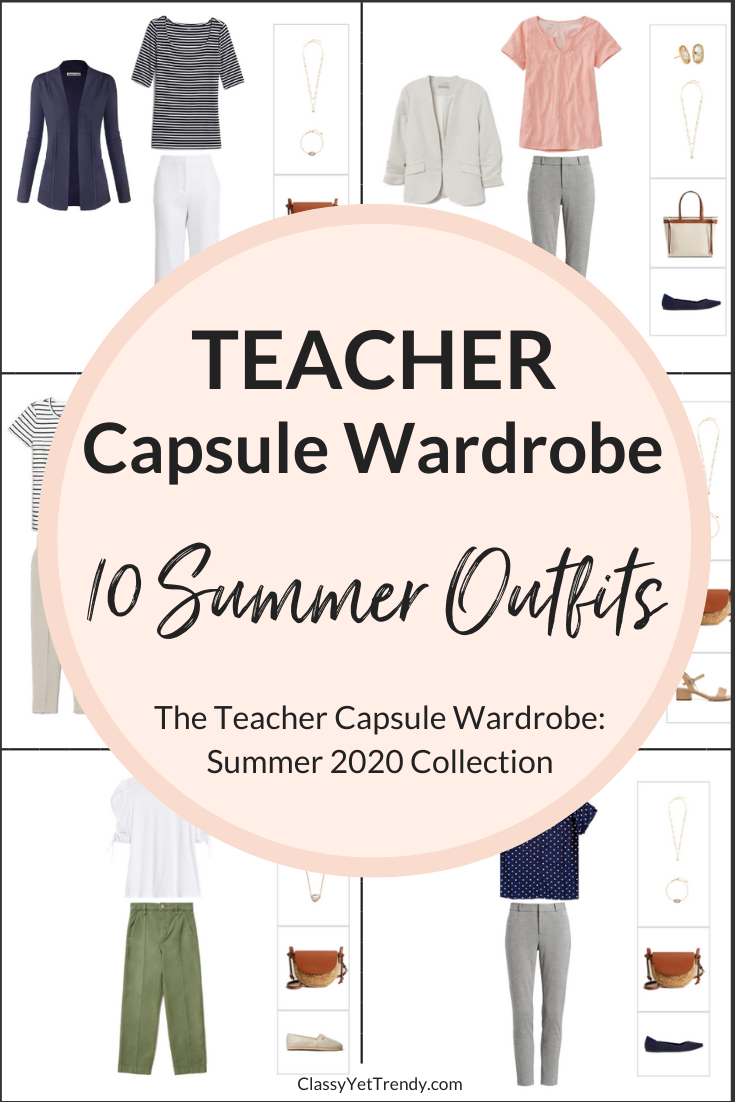 Teacher Capsule Wardrobe Summer 2020 - Included are 100 outfit ideas from just 22 clothes