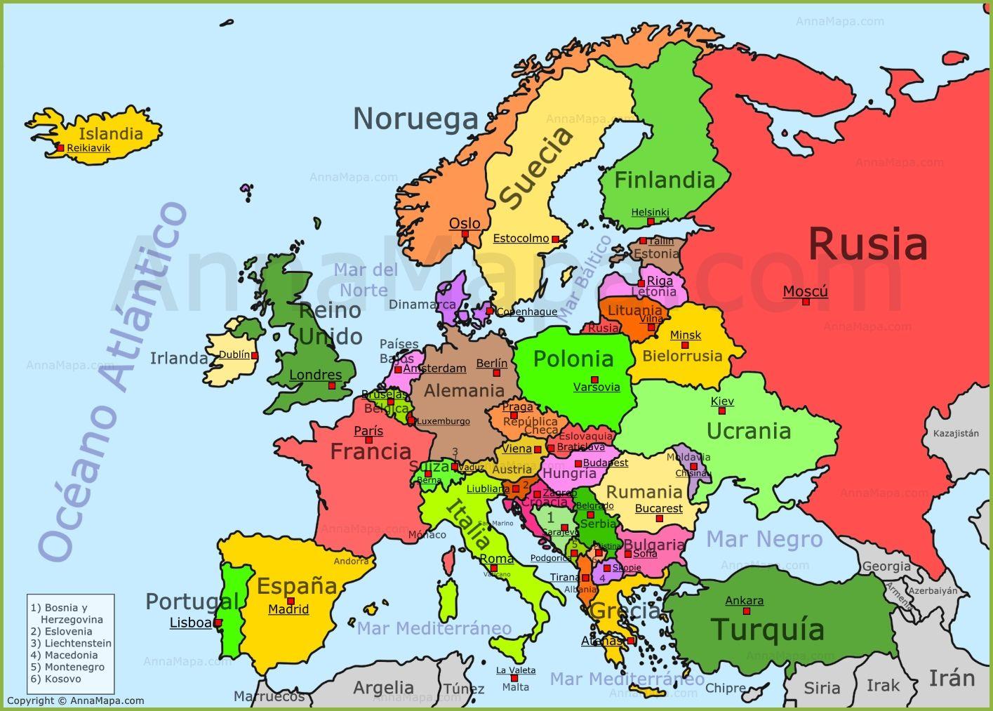 Politico Mapa Europa Con Capitales.Pin De Angel Rodrigo En Paisajes Mapa Paises Europa Mapa