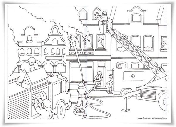 feuerwehr ausmalbilder 09 | ausmalbilder | Pinterest | Kindergarten ...