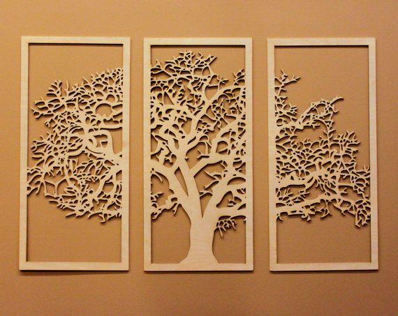 Tree Of Life 3 Panel Wood Wall Art Hanging Living Room Large Decor