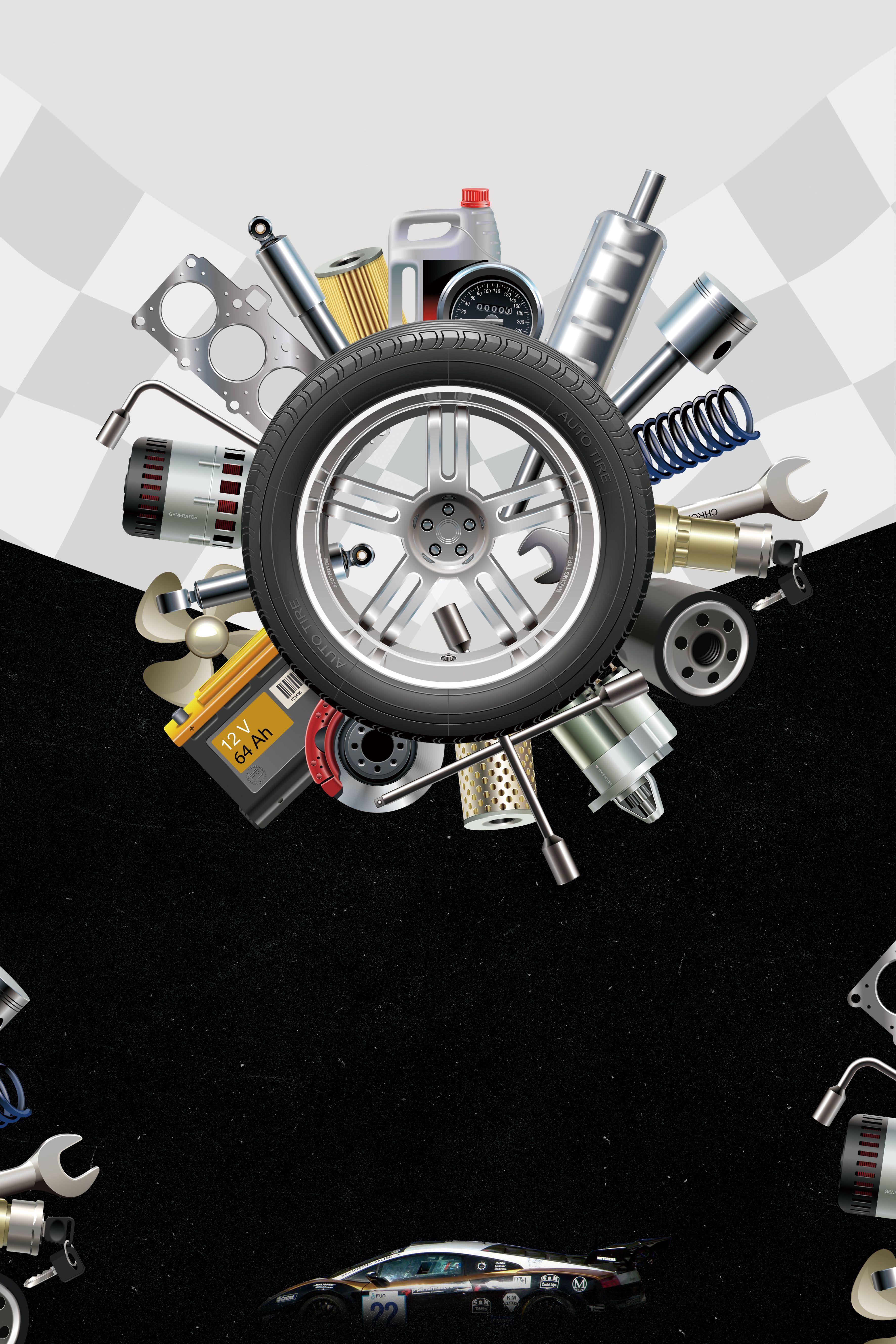 Creative Tire Repair Tool Car Repair Poster Background Material Tire Repair Tire Repair Tools Auto Repair