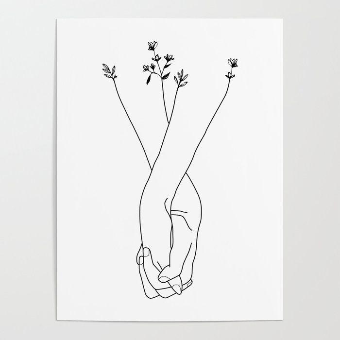 Holding Hands Art Poster by Kathe Gravel - 18