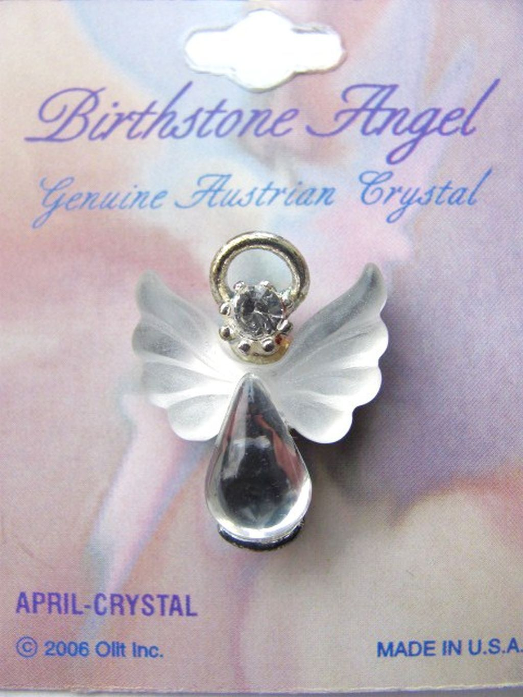 July Silver Angel Pin with Birthstone