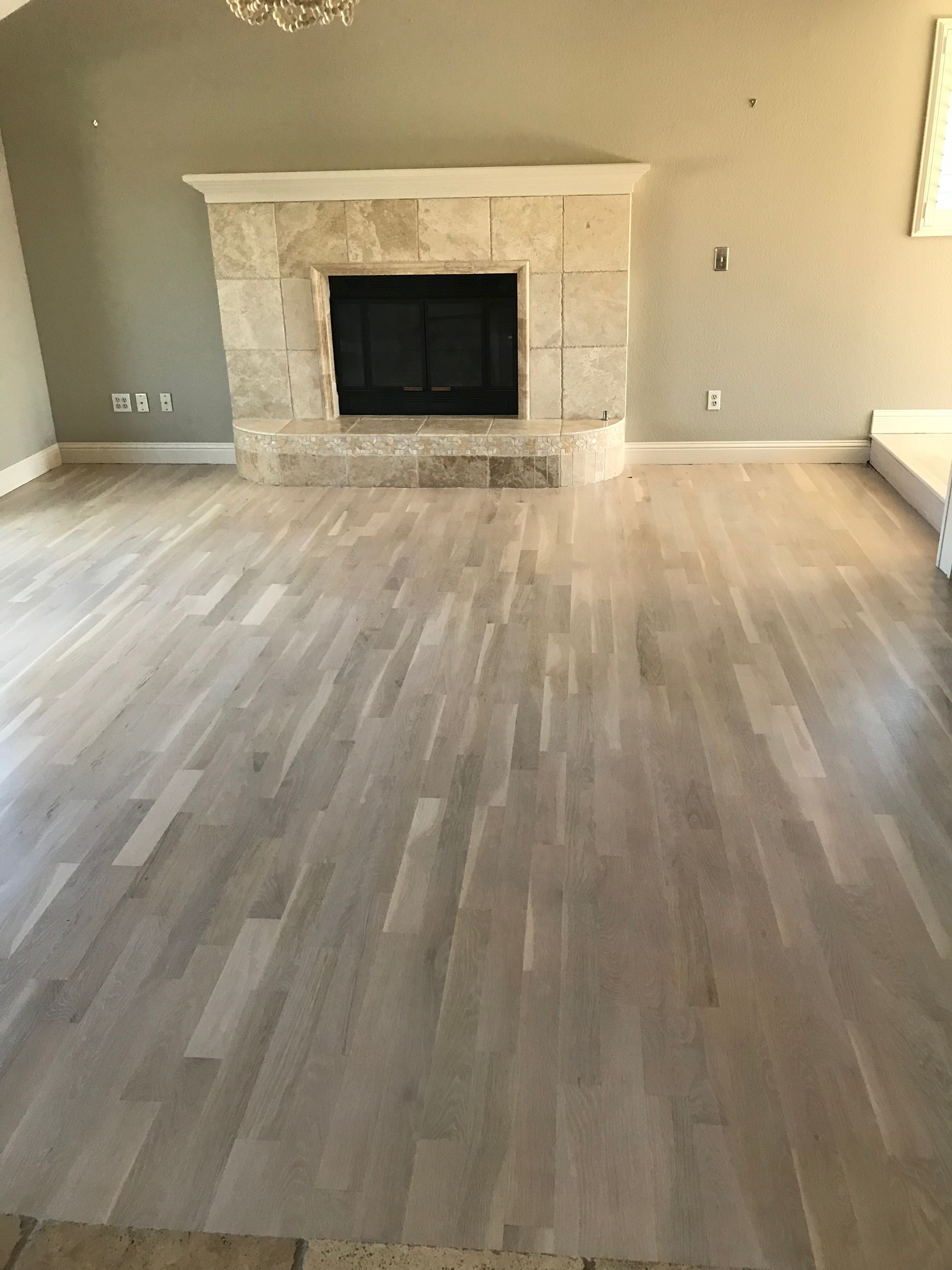 Whitewashed Oak Floors Stained With