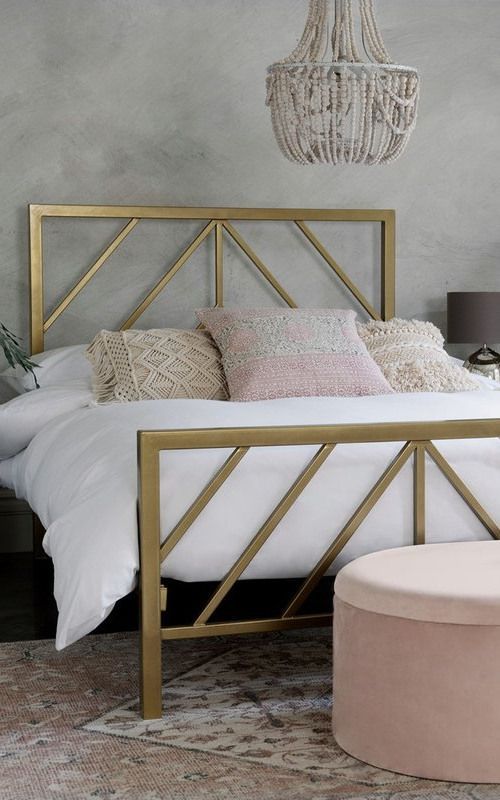 Next Piper Bed Gold In 2020 Grey And Gold Bedroom Gold Bed Frame Gold Bed