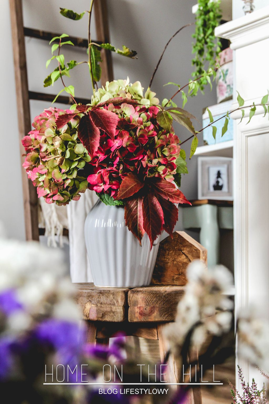 Hortensje W Wazonie Jesienny Bukiet Salon Table Decorations Floral Wreath Decor
