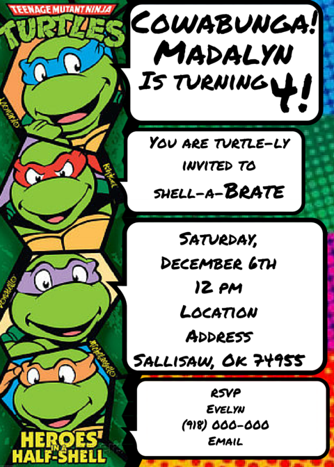 Teenage Mutant Ninja Turtles Invitation Tmnt Tarjetas