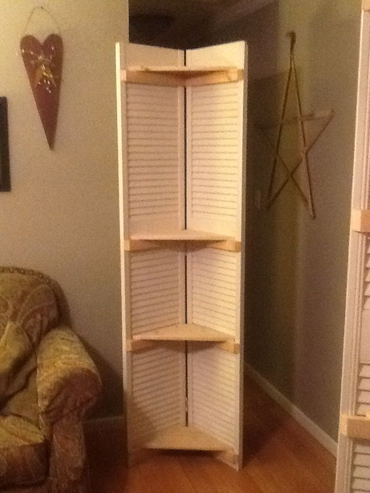 Corner Shelf Unit Made From Two Old Bifold Shutter Doors Doors Repurposed Upcycle Home Diy Closet Doors