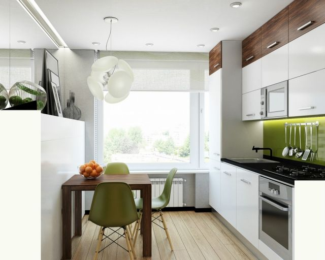 kleine-kueche-weiss-spritzschutz-glas-gruen-wandfarbe-grau - glas spritzschutz küche