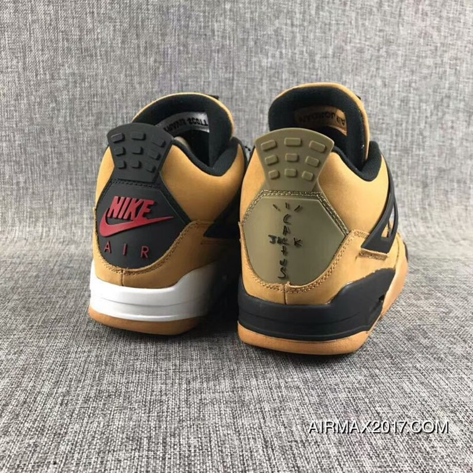 c3d177b63c37 Travis Scott X Air Jordan 4 Wheat Suede Mens Basketball Shoes Olive Black  New Style