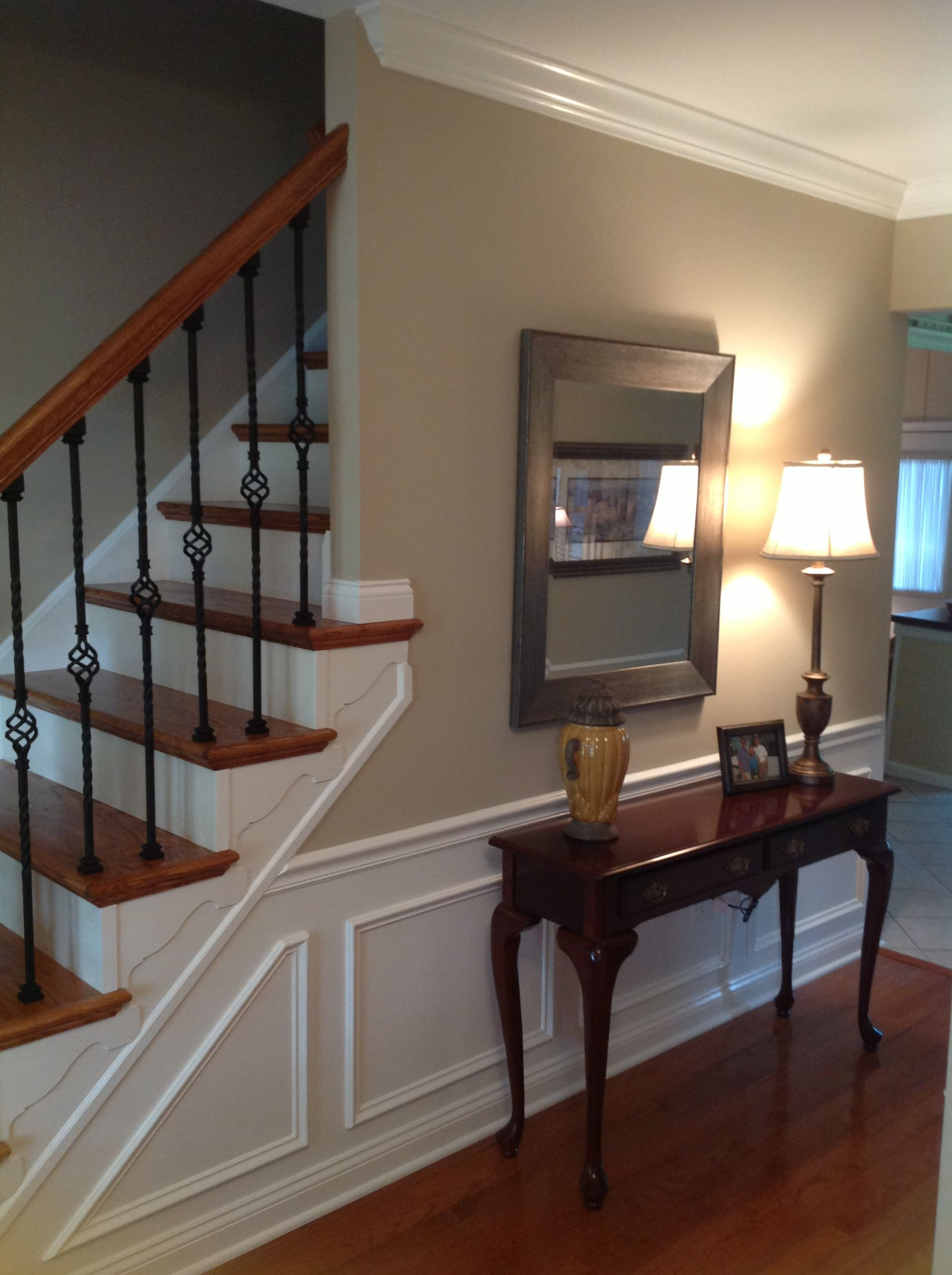 New stairway, railings, hardwoods, molding and fresh paint   Home, Home remodeling, New home ...
