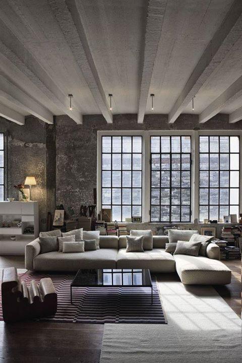 Warehouse Windows, Minimalist Style . Love !   Loft Ideas   Pinterest    Graues Sofa, Sofa Und Grau